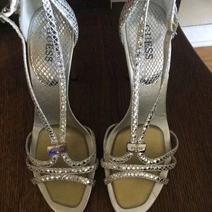 Sliver Guess Strappy Heels